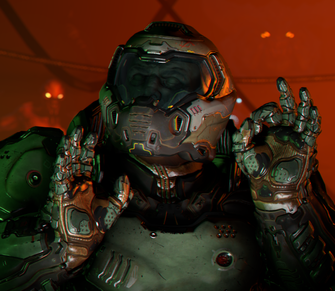 Courtesy Bethesda, id Software, and whomever posed this model of the Doomguy.